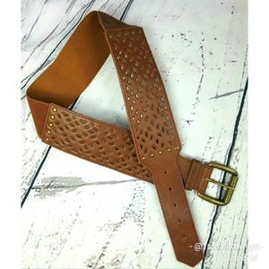 Belt Lattice leather and woven textile stretch